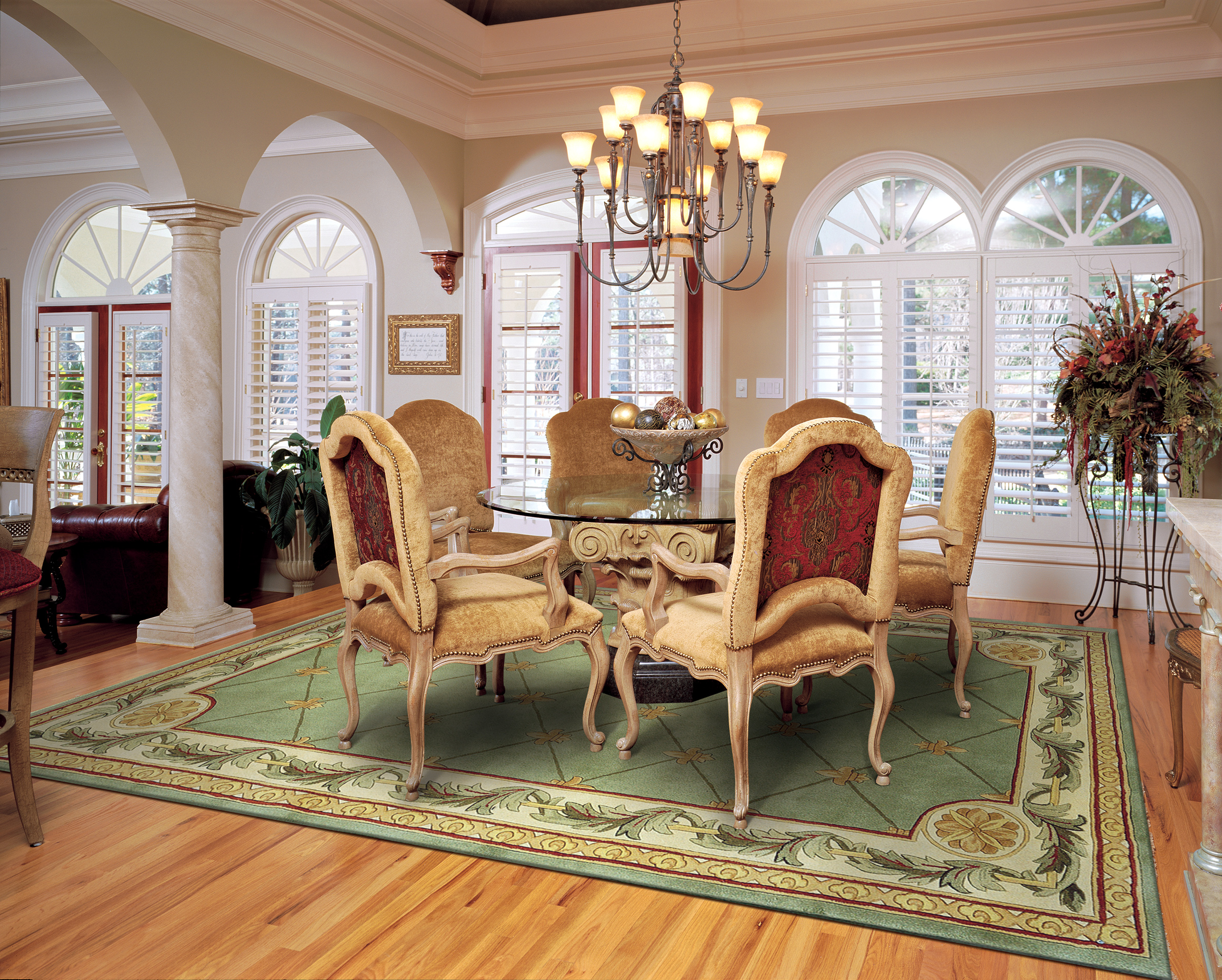 The best size for your dining room rug rug home for Dining room rugs